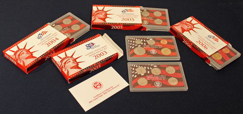 US Mint Proof Sets Red but Not Silver 2003 through 2006
