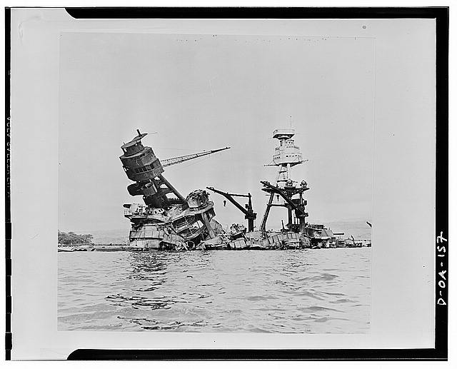 USS Arizona resting on the sea floor after the fires in December 1941