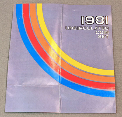 1981 Mint Set Brochure opened showing front and back