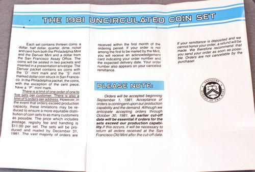 1981 Mint Set Brochure opened showing inside marketing message