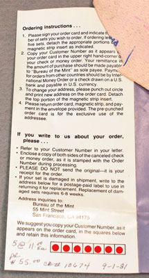 1981 Mint Set Brochure showing US Mint's ordering instructions