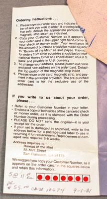 1981 Mint Set Brochure showing US Mint's ordering instructions