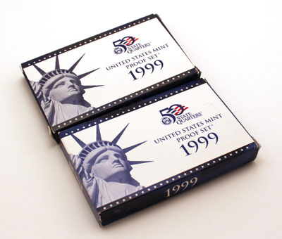1999 Proof Sets - Different boxes front view