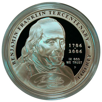 Ben Franklin Found Father Commemorative Silver Dollar Coin 2006 obverse