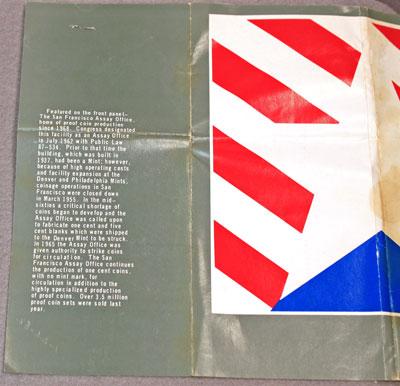 US Mint 1982 Proof Set Brochure back
