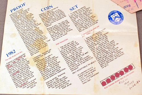 US Mint 1982 Proof Set Brochure inside