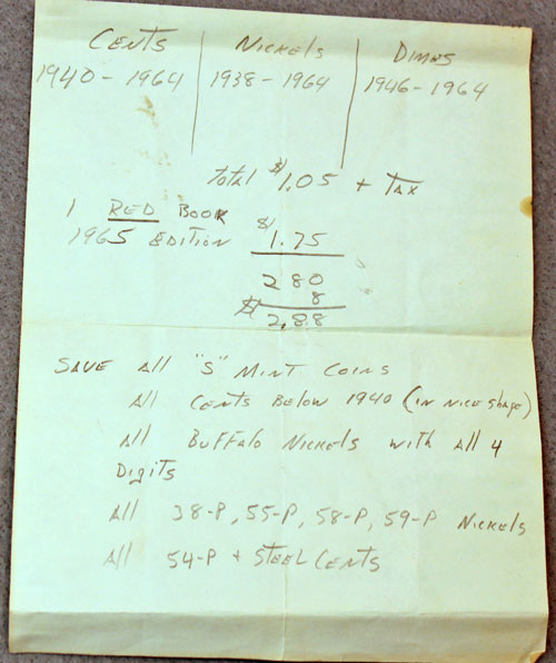Notes and purchase information made by a new coin collector in 1965