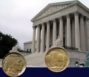 American Buffalo Nickel in front of the Supreme Court Building