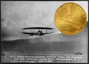 First Flight $10 Gold with background of Curtiss in the June Bug