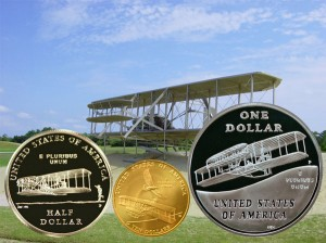 First Flight Commemorative Coins Reverse with Wright Flyer