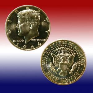 1964 90% Silver Kennedy Half Dollar Coin