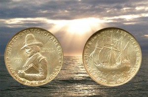 Pilgrim Classic Commemorative Silver Half Dollar coin with the ocean