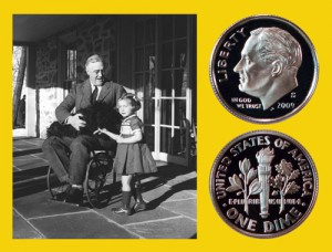 Roosevelt sits in a wheelchair talking with young girl beside the Roosevelt dime