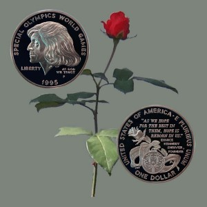 Special Olympics Commemorative Silver Dollar with rose background