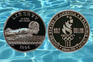 1996 Swimming Commemorative Half Dollar Coin