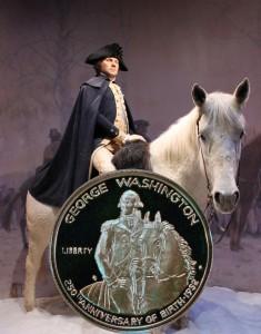George Washington Commemorative Silver Half Dollar with him on horseback