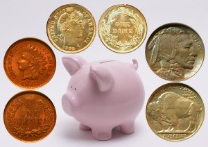 Small Coins - Penny, Nickel, Dime and a piggy bank
