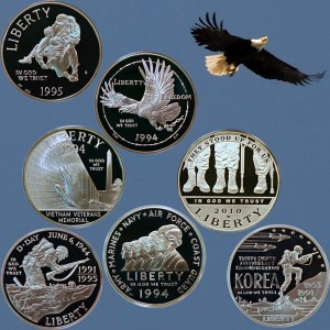 Commemorative Silver Dollar Coins honoring the military