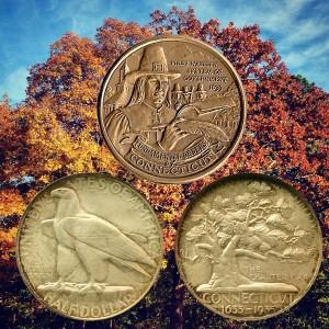 Connecticut Tercentenary Silver Half Dollar Coin