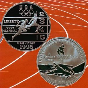Atlanta Olympics Track and Field Commemorative Silver Dollar Coin