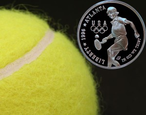 XXVI Olympiad Tennis Commemorative Silver Dollar Coin