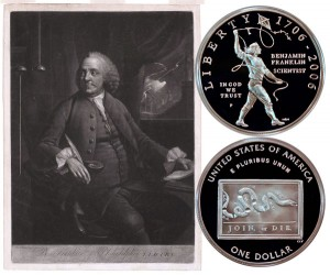 Benjamin Franklin Scientist Commemorative Silver Dollar Coin