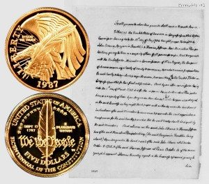 Constitution Commemorative Gold Five Dollar Coin
