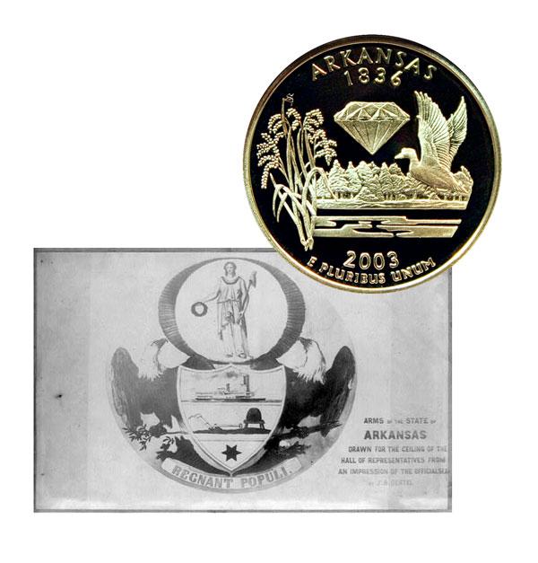 regnant populi arkansas state quarter coin greater atlanta coin