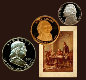 Franklin Silver Half Dollar, John Adams Presidential One Dollar Coin and Jefferson Five Cent Coin