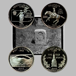 Maryland, West Virginia, Pennsylvania and Delaware State Quarter Coins