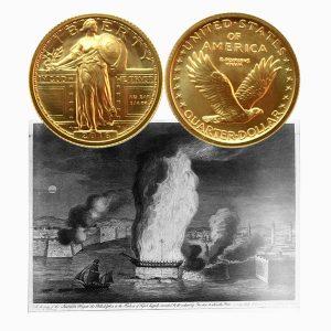 Gold Liberty Quarter Dollar Coin