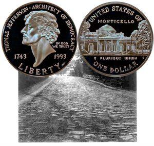 Thomas Jefferson Commemorative Silver Dollar Coin