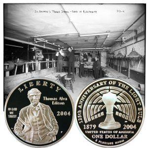 Thomas Edison Commemorative Silver Dollar Coin