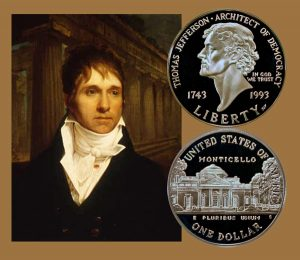 Jefferson Commemorative Silver Dollar Coin with an artist's image of William Short, circa 1806.