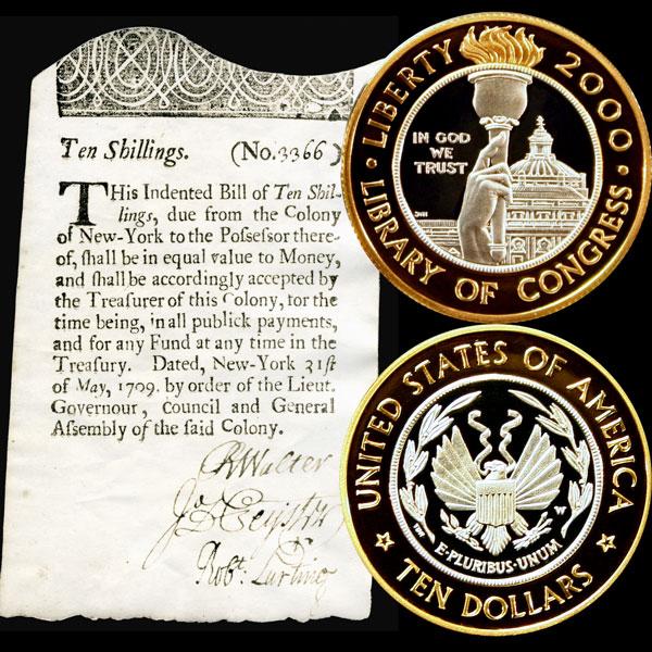 Library of Congress Commemorative Bi-Metallic Ten-Dollar Coin