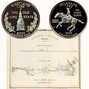 Maryland and Delaware State Quarter Coins