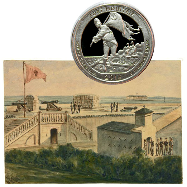 Fort Moultrie at Fort Sumter National Monument America the Beautiful Quarter Coin