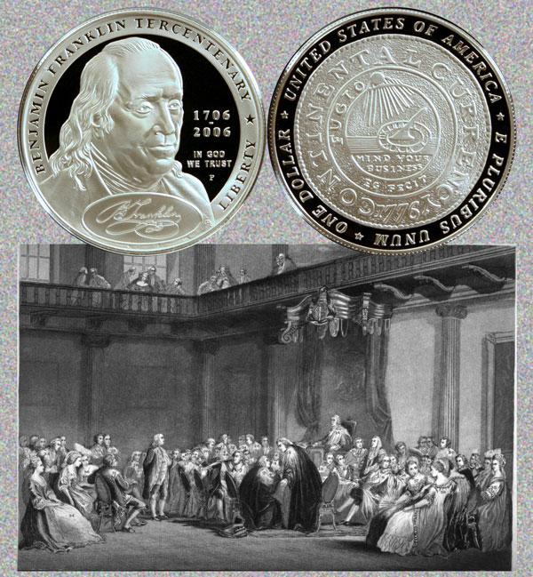 Benjamin Franklin Founding Father Commemorative Silver Dollar Coin