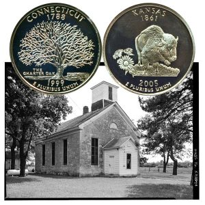 Connecticut and Kansas State Quarter Coins