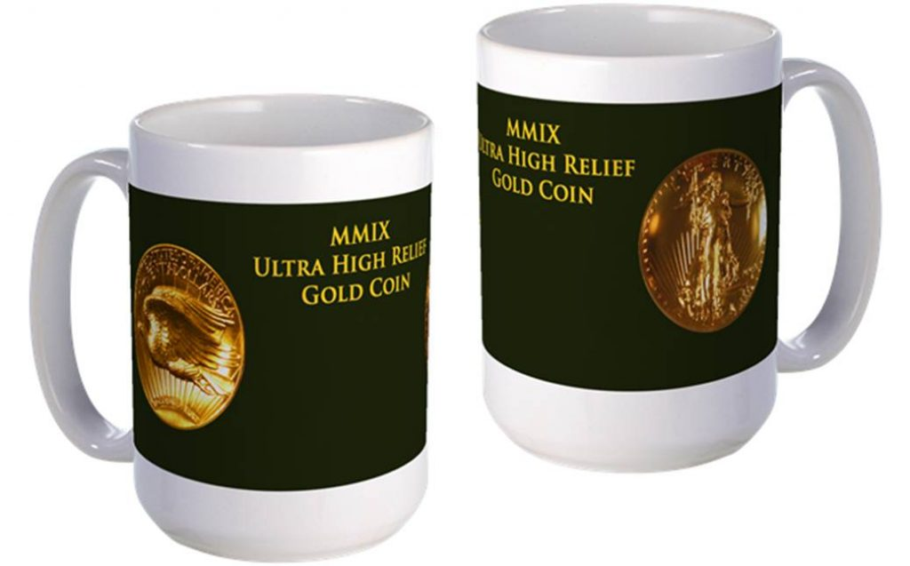 Ultra High Relief Gold Coin large mug