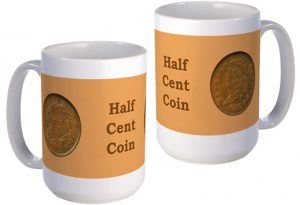 Half Cent Coin large mug