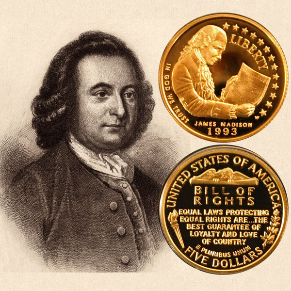 Bill of Rights Commemorative Gold Five-Dollar Coin
