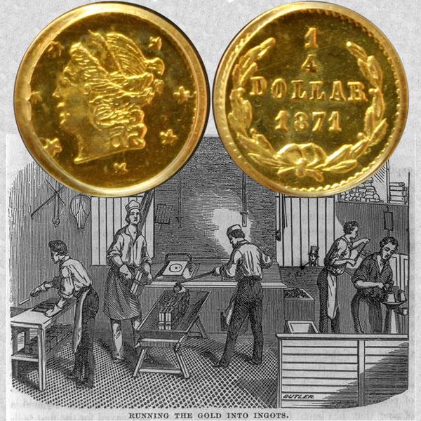 California Fractional Gold Quarter Dollar Coin