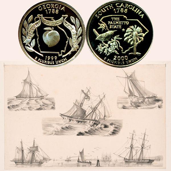 Georgia and South Carolina State Quarter Coins