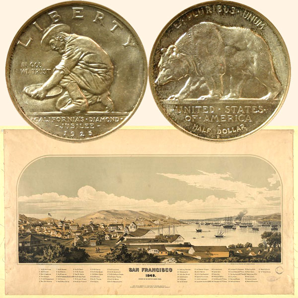 California Diamond Jubilee Commemorative Silver Half Dollar Coin