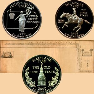 Maryland, Pennsylvania and Delaware State Quarter Coins