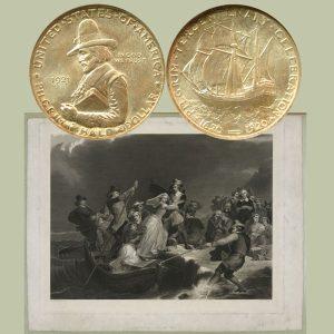Pilgrim Tercentenary Commemorative Silver Half Dollar Coin