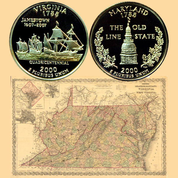 Maryland and Virginia State Quarter Coins