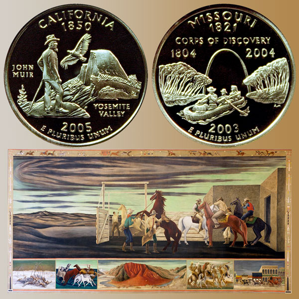 California and Missouri State Quarter Coins