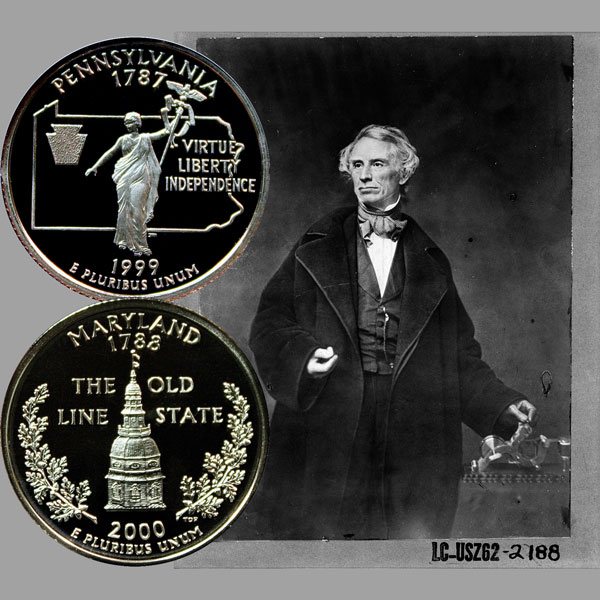 Maryland and Pennsylvania State Quarter Coins